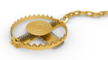 gold trap on a white background