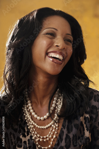 Portrait of African woman laughing