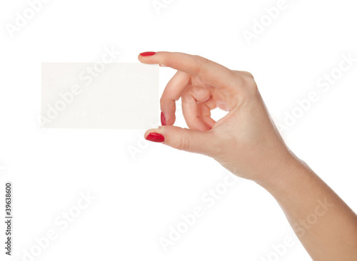 Female hand holding a blank paper. isolated in white