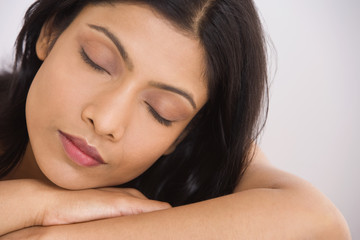 Close up of Indian woman sleeping