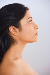Close up profile of Indian woman