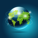 Modern globe blue and green connection, vector illustration