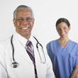 Portrait of multi-ethnic male and female doctors