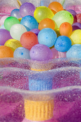 Water filled colored balloons