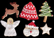 close up shot of Christmas cookies isolated over white