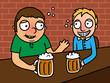 Drunk alcoholic men drinking beer in bar