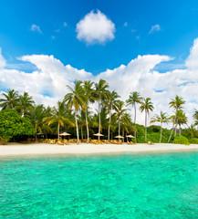tropical island beach with blue sky