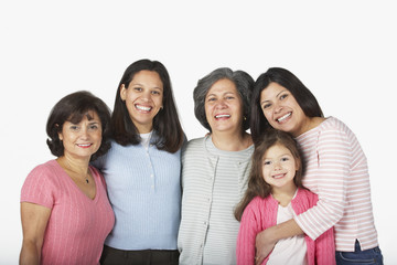 Portrait of multi-generational Hispanic female family members