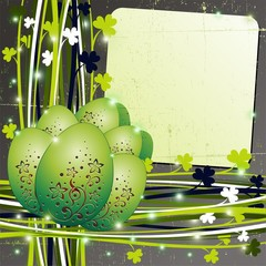 Pasqua-Messaggio Auguri Verde Grunge Easter Green Card-Vector