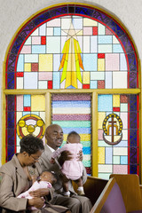 African American family in church