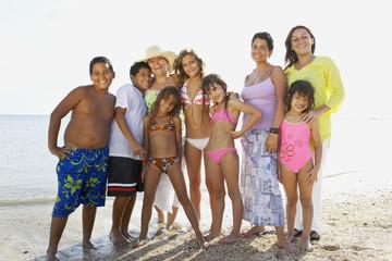 Hispanic family at beach