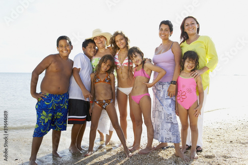 Hispanic family at beach