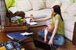 Leinwanddruck Bild - working mom with baby