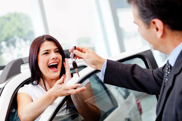Woman buying a car