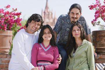 Hispanic couples outdoors