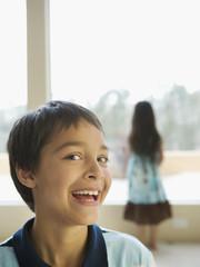 Hispanic boy laughing