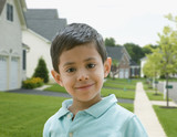 Hispanic boy in residential area