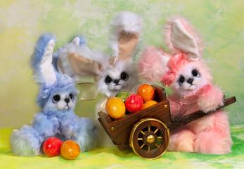 Three Easter bunny rabbit