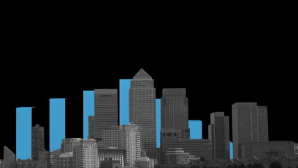 London Docklands skyline with graph animation