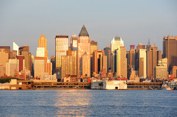 New York City Manhattan at sunset over Hudson River