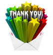Thank You Words in Open Envelope Grateful Message