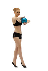 Young gymnast dance with ball in black