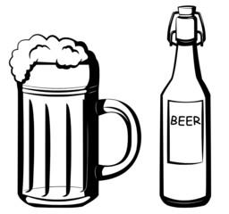 Bierglas und Bierflasche