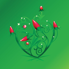 Floral Green Heart