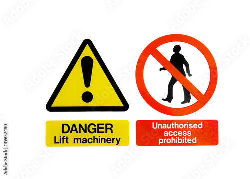 Two Warning Hazard Signs