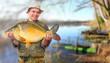 The fisherman with his big Carp at a beautiful lake.