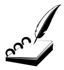Ring notepad with quill in vector design