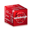 red web design concept cube illustration