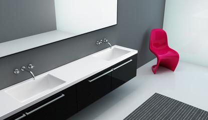 Modern interior bathroom hotel room,grey  red chair