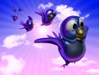 Blue twittering bird flying in the sky