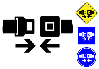 Safety belt pictogram and signs