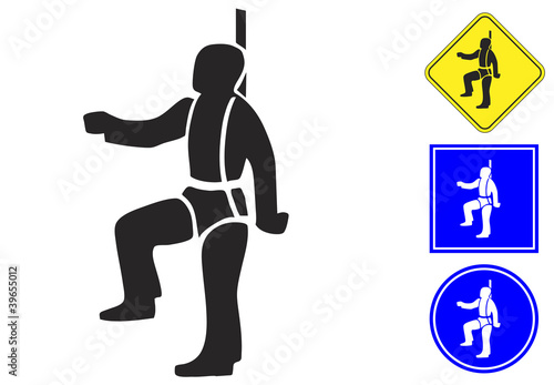 Safety harness pictogram and signs