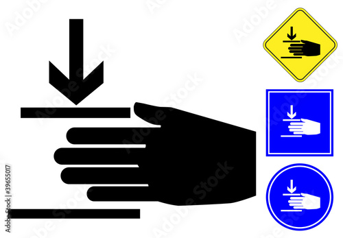Hand crush pictogram and signs