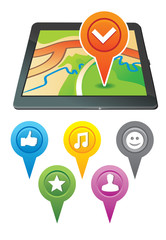 gps navigator with bright markers