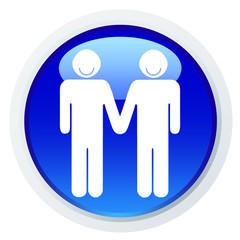 Ícone com um casal de homens de mão dada e a sorrir