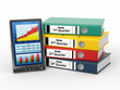 Electronic report. Binders and tablet pc with graph