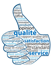 "Nuage de Tags ""SATISFACTION - SERVICE - QUALITE"" (bouton j'aime)"