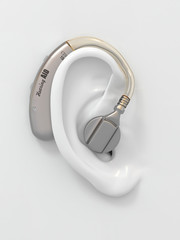 Hearing aid on ear. 3d