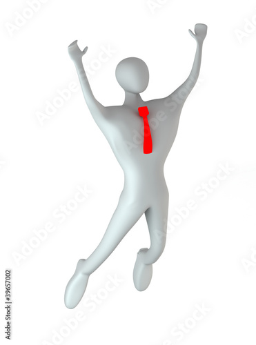 3d person happy jumping