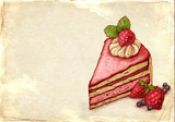 Old fashioned illustration of cake with strawberry