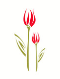 Tulip stylized vector illustration. isolated symbol