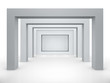 3d empty niche with spotlights for exhibit in bright interior