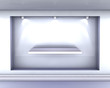 3d empty niche with shelf and spotlights for exhibit in the grey