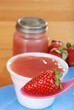 closeup organic strawberry baby food concept