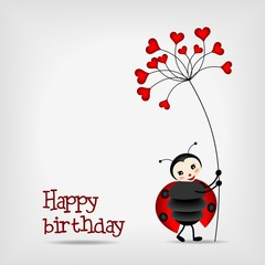 ladybug with flower - birthday card