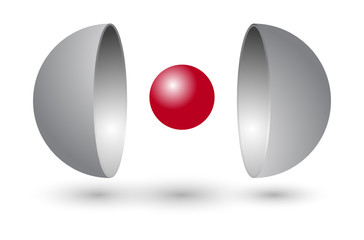 Two Sphere Sections - Red Core